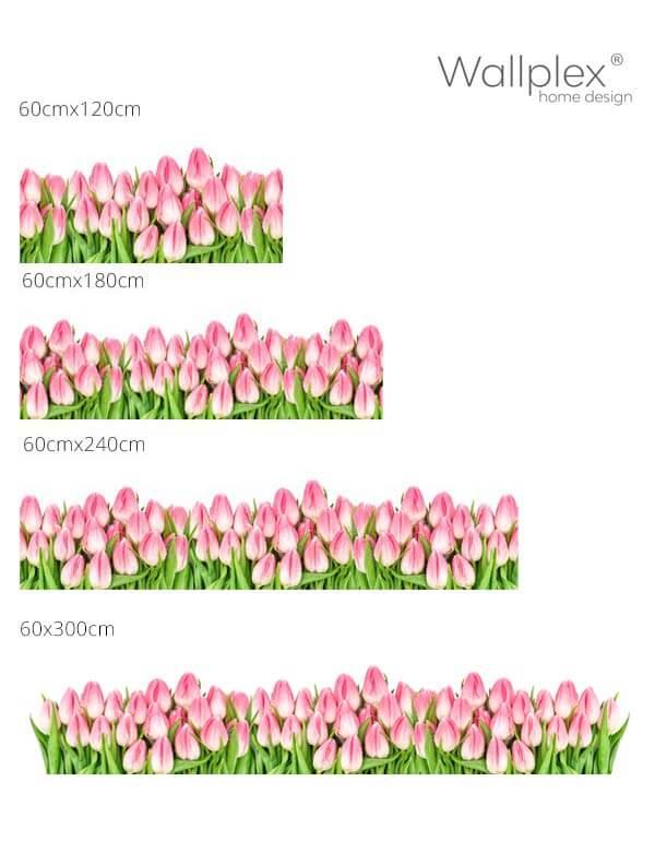 Mérettábla Rózsaszín tulipánok fehér háttér Wall0084