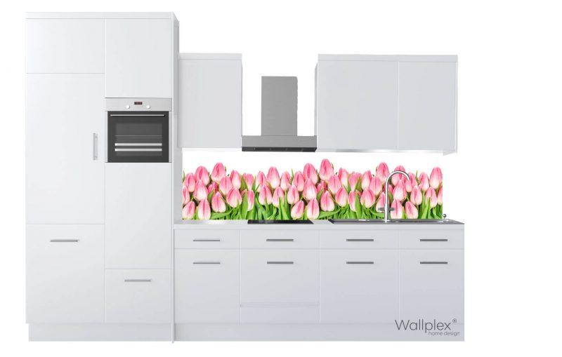 wallplex konyhapanel fehér tulipánok termékkép fehér
