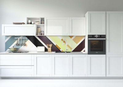 Fehér minimal konyha hátfal