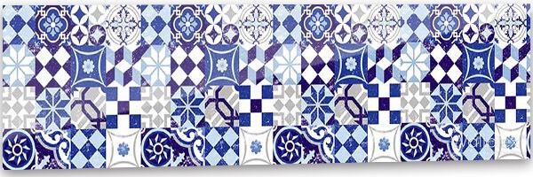 konyhai fali panel kék mozaik