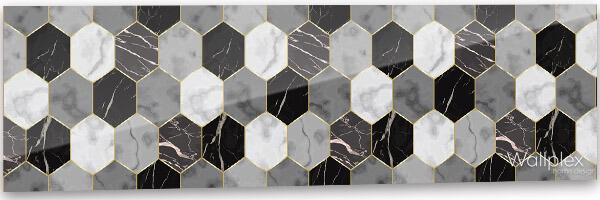 wallplex konyhai hátfal hexagon minta