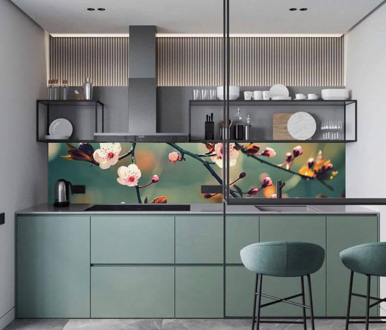 zöld konyha wallplex hátfallal