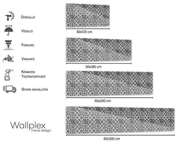 wallplex mérettábla fekete mozaik