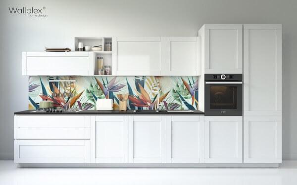 trópusi virágok minta konyha wallplex