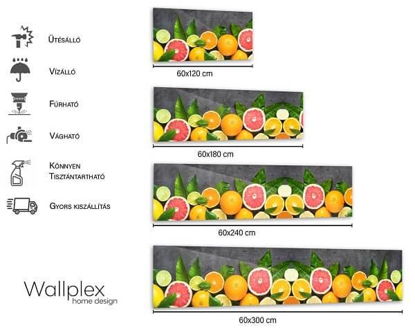 konyhapanel méretek gyümölcsös